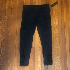 Pants - Black Capri Leggings with Criss-Cross Detail